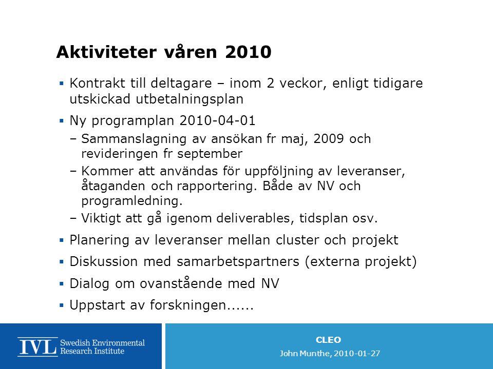 CLEO John Munthe, 2010-01-27 Aktiviteter våren 2010  Kontrakt till deltagare – inom 2 veckor, enligt tidigare utskickad utbetalningsplan  Ny programplan 2010-04-01 –Sammanslagning av ansökan fr maj, 2009 och revideringen fr september –Kommer att användas för uppföljning av leveranser, åtaganden och rapportering.