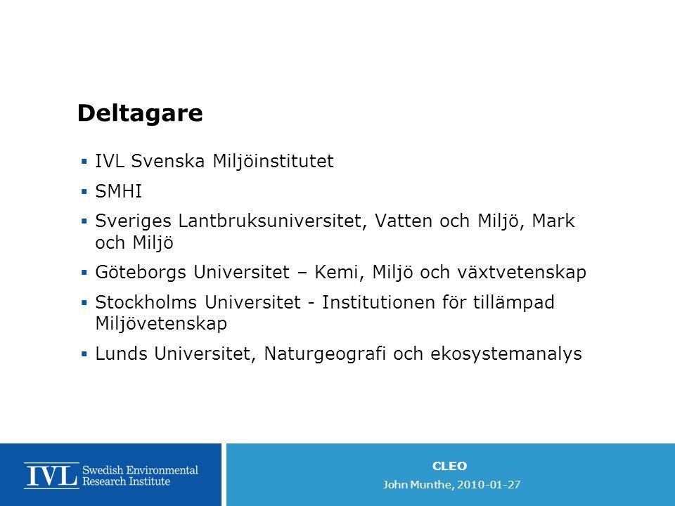 CLEO John Munthe, 2010-01-27 Programperiod 1  Start2009-12-01  Slut2012-12-31  Budget: 21 600 000 kr Fördelning: 2009 - 4 000 kkr 2010 –2 600 kkr 2011 –9 300 kkr 2012 - 5 700 kkr  Inkluderar kompletterande ansökan om utveckling av klimatmodeller (ITM, SMHI) – integrerad i programmet  Reviderad programplan senast 2010-04-01