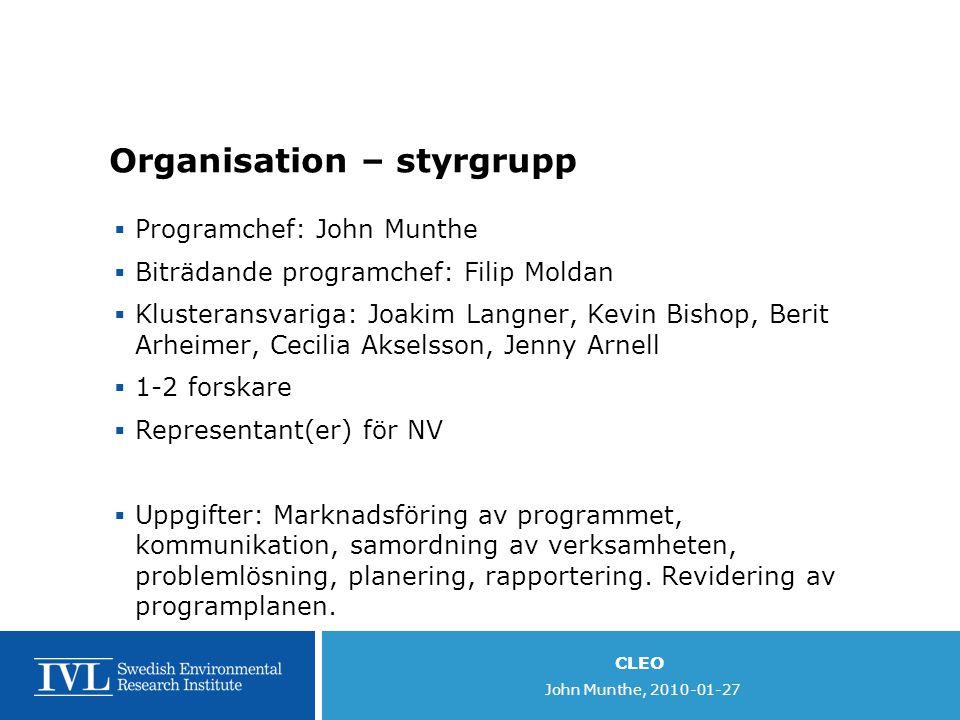 CLEO John Munthe, 2010-01-27 Organisation – styrgrupp  Programchef: John Munthe  Biträdande programchef: Filip Moldan  Klusteransvariga: Joakim Lan