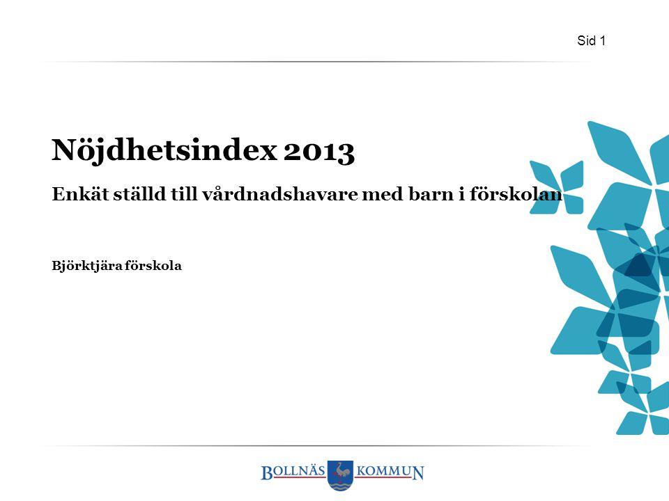 Sid 1 Björktjära förskola Nöjdhetsindex 2013 Enkät ställd till vårdnadshavare med barn i förskolan