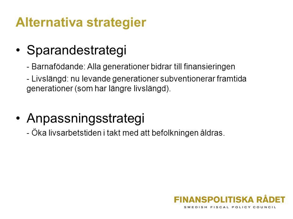 Alternativa strategier Sparandestrategi - Barnafödande: Alla generationer bidrar till finansieringen - Livslängd: nu levande generationer subventionerar framtida generationer (som har längre livslängd).