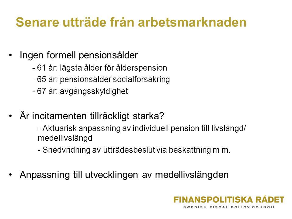 Senare utträde från arbetsmarknaden Ingen formell pensionsålder - 61 år: lägsta ålder för ålderspension - 65 år: pensionsålder socialförsäkring - 67 år: avgångsskyldighet Är incitamenten tillräckligt starka.
