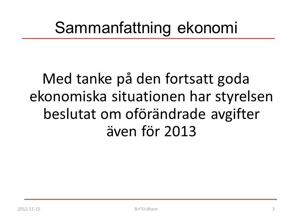 Sammanfattning ekonomi Med tanke på den fortsatt goda ekonomiska situationen har styrelsen beslutat om oförändrade avgifter även för 2013 2012-11-153B
