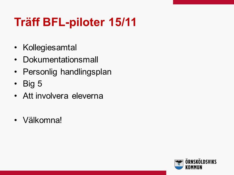Träff BFL-piloter 15/11 Kollegiesamtal Dokumentationsmall Personlig handlingsplan Big 5 Att involvera eleverna Välkomna!