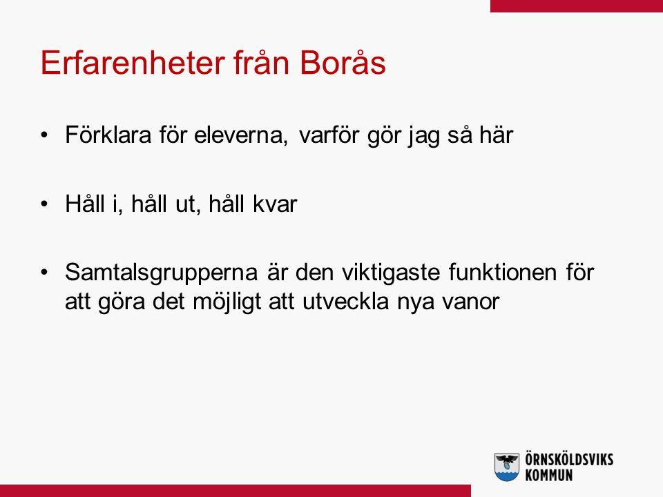 Erfarenheter från Borås Förklara för eleverna, varför gör jag så här Håll i, håll ut, håll kvar Samtalsgrupperna är den viktigaste funktionen för att göra det möjligt att utveckla nya vanor