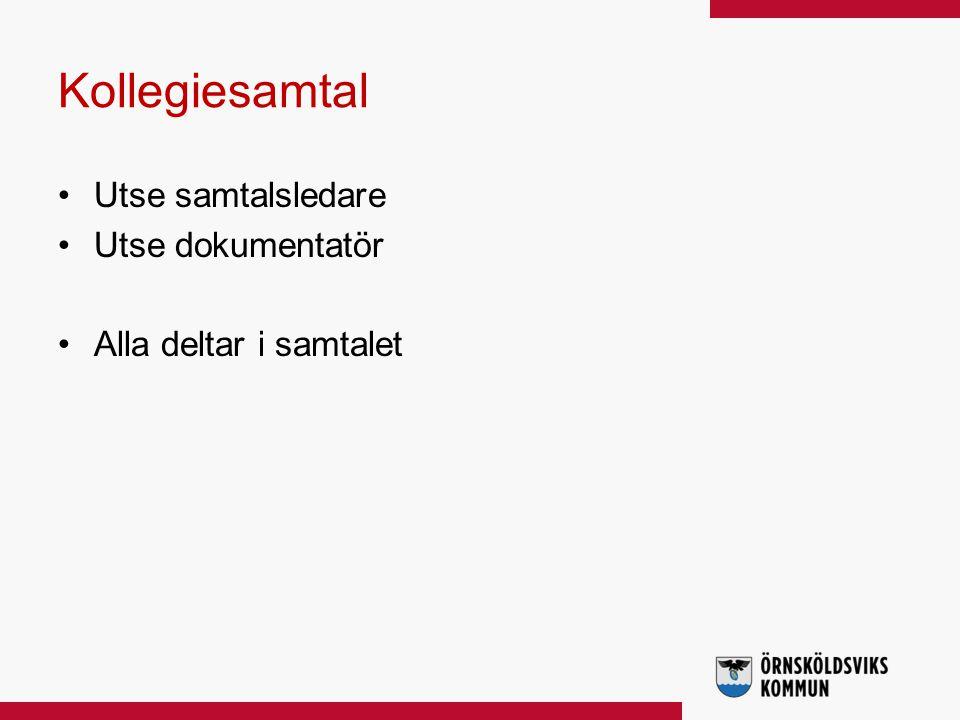 Kollegiesamtal Utse samtalsledare Utse dokumentatör Alla deltar i samtalet
