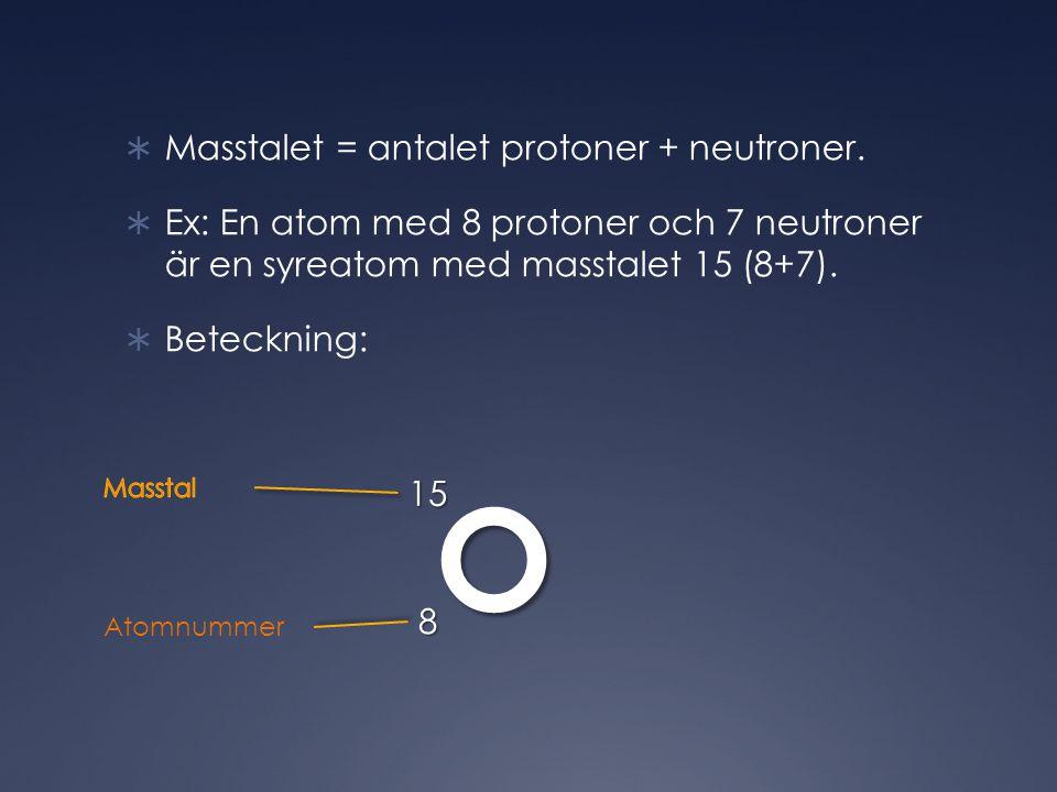  Masstalet = antalet protoner + neutroner.