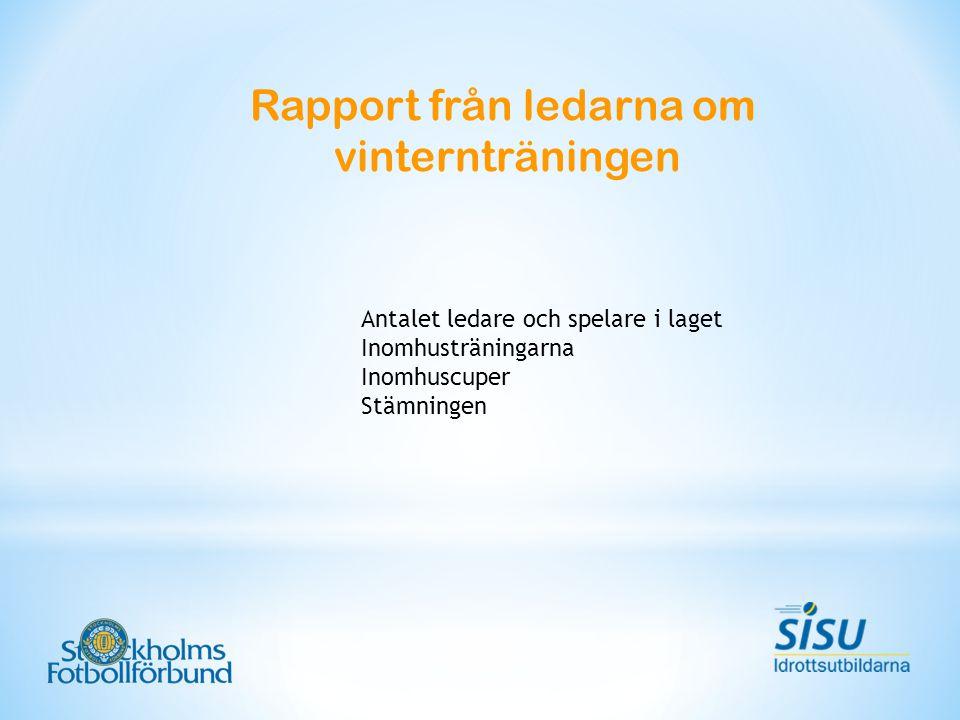 Rapport från ledarna om vinternträningen Antalet ledare och spelare i laget Inomhusträningarna Inomhuscuper Stämningen