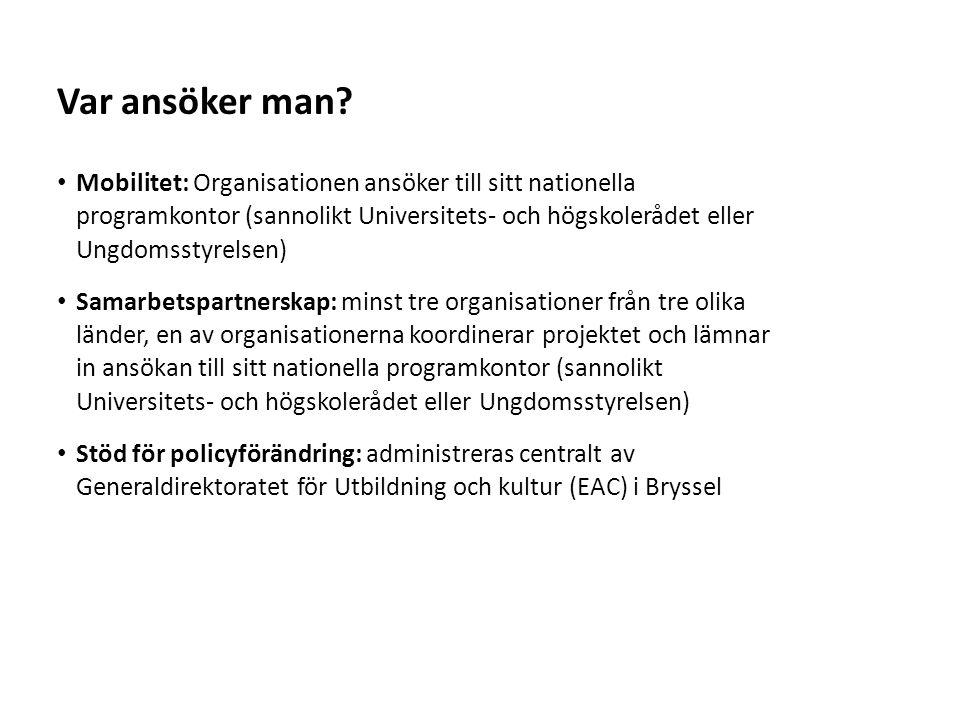 Sv Mobilitet: Organisationen ansöker till sitt nationella programkontor (sannolikt Universitets- och högskolerådet eller Ungdomsstyrelsen) Samarbetspa