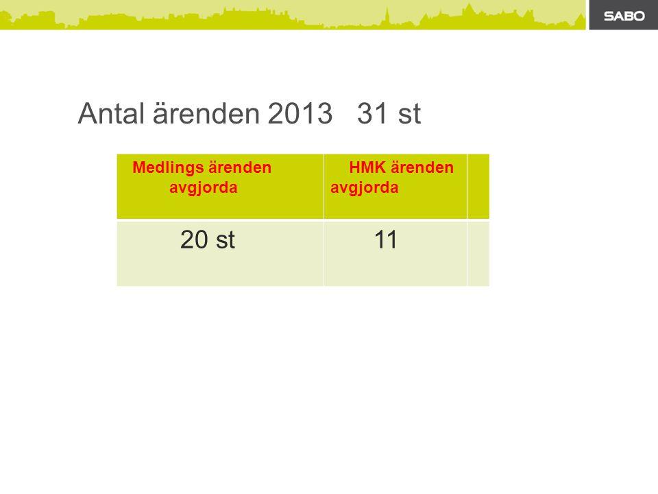 Antal ärenden 2013 31 st Medlings ärenden avgjorda HMK ärenden avgjorda 20 st 11