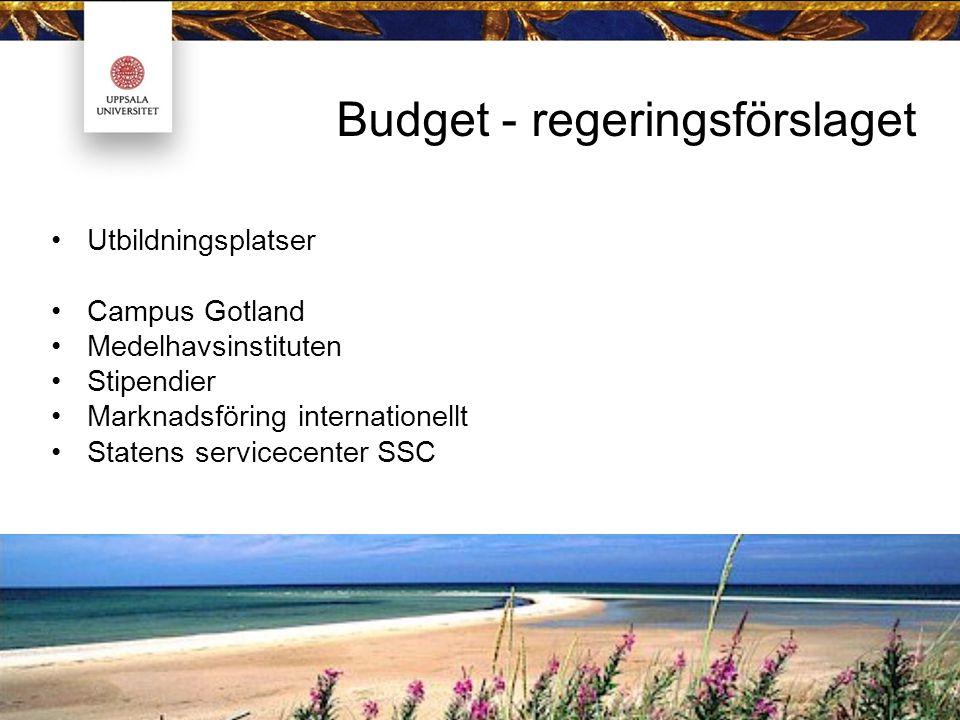 Budget - regeringsförslaget Utbildningsplatser Campus Gotland Medelhavsinstituten Stipendier Marknadsföring internationellt Statens servicecenter SSC