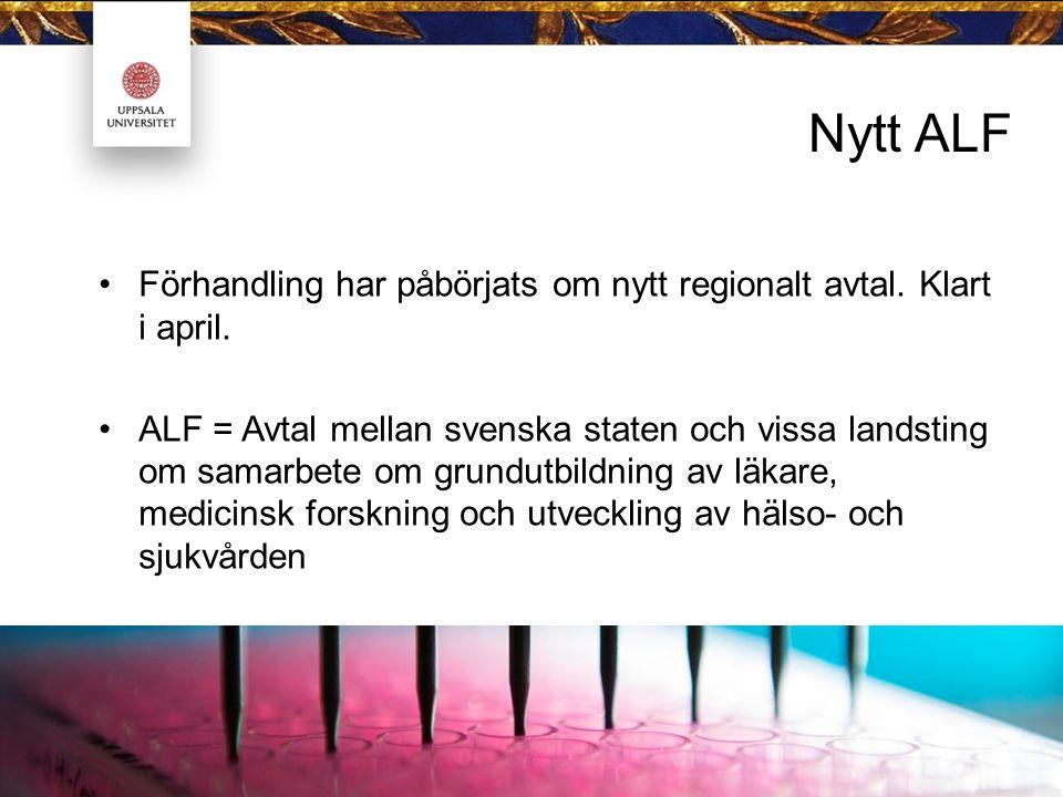Nytt ALF Förhandling har påbörjats om nytt regionalt avtal. Klart i april. ALF = Avtal mellan svenska staten och vissa landsting om samarbete om grund