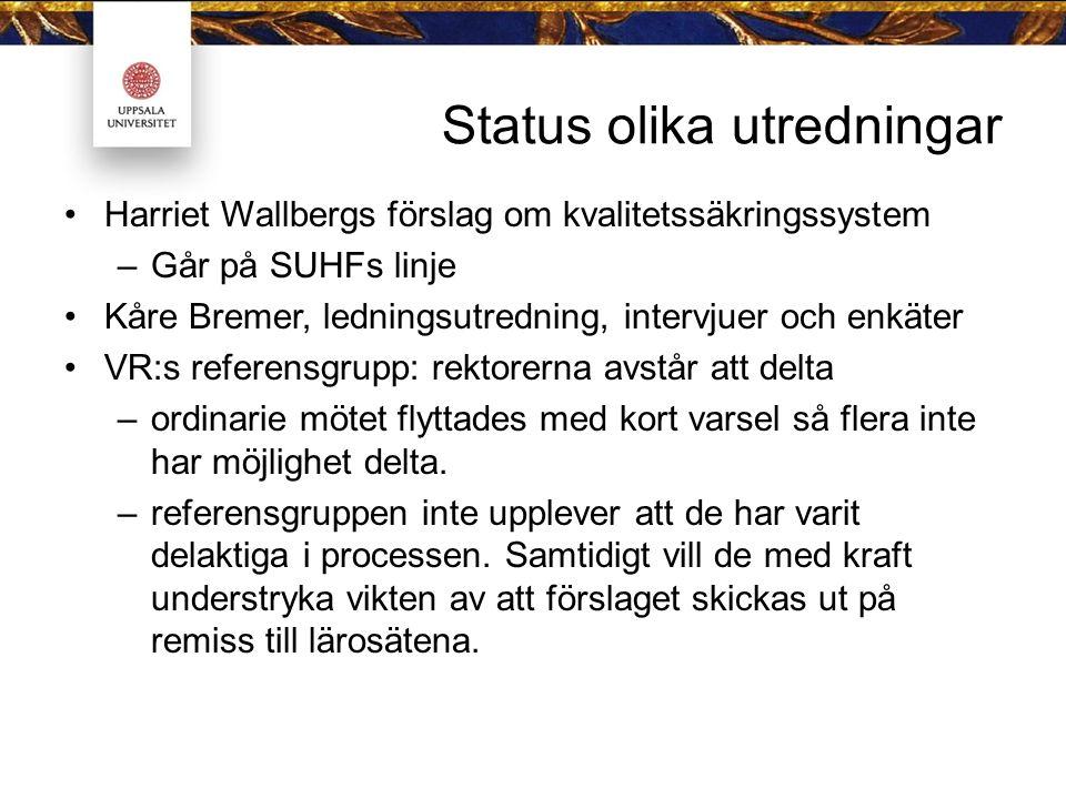 Status olika utredningar Harriet Wallbergs förslag om kvalitetssäkringssystem –Går på SUHFs linje Kåre Bremer, ledningsutredning, intervjuer och enkät