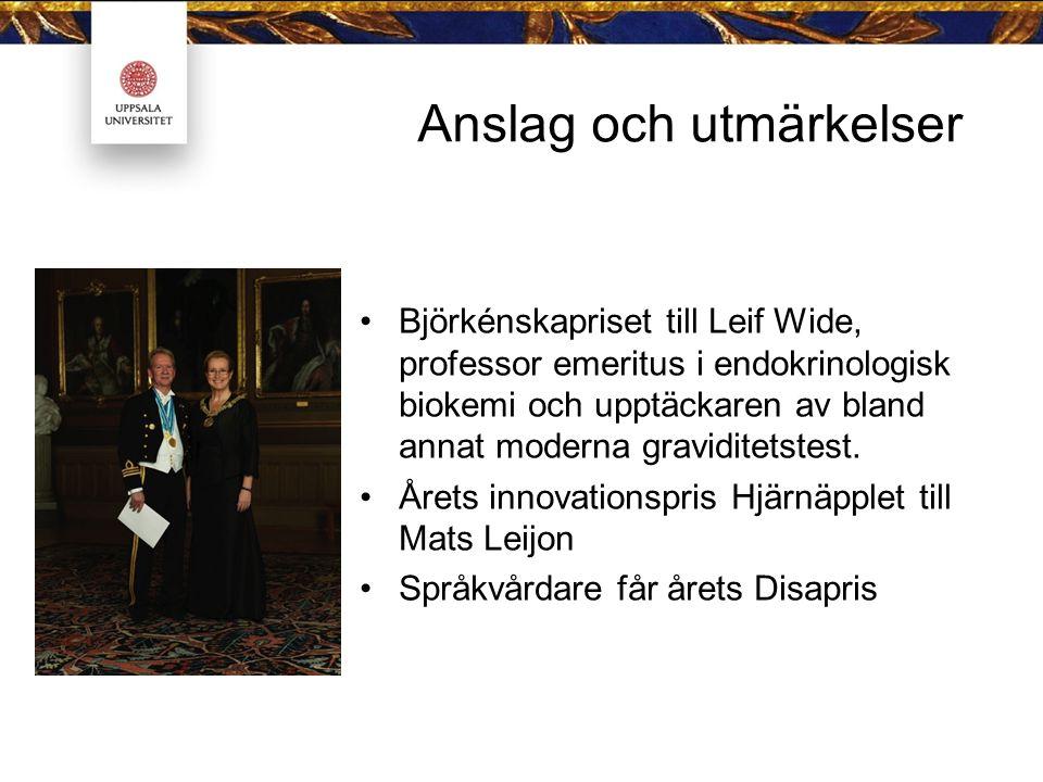 Anslag och utmärkelser Björkénskapriset till Leif Wide, professor emeritus i endokrinologisk biokemi och upptäckaren av bland annat moderna graviditetstest.