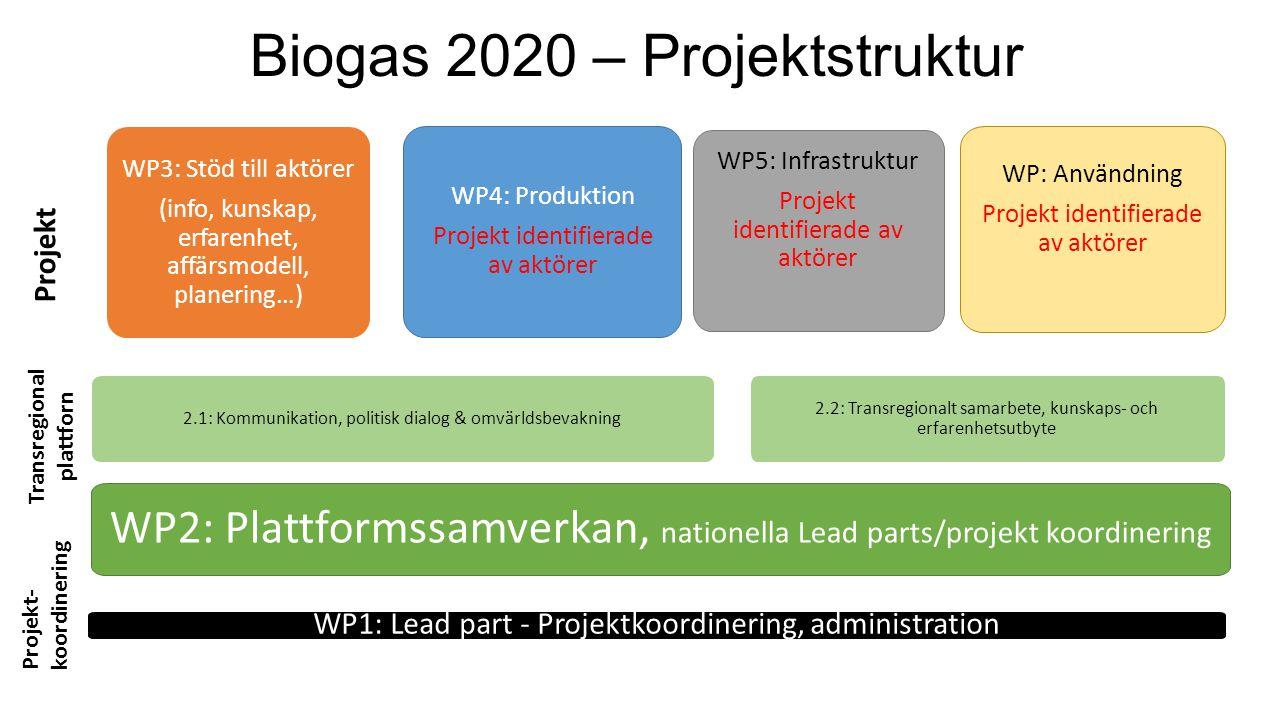 Biogas 2020 – Projektstruktur WP1: Lead part - Projektkoordinering, administration WP2: Plattformssamverkan, nationella Lead parts/projekt koordinerin