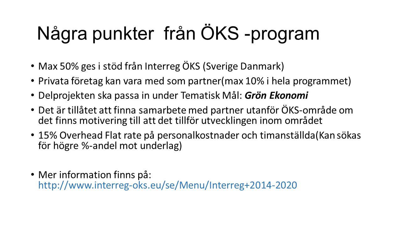 Några punkter från ÖKS -program Max 50% ges i stöd från Interreg ÖKS (Sverige Danmark) Privata företag kan vara med som partner(max 10% i hela program