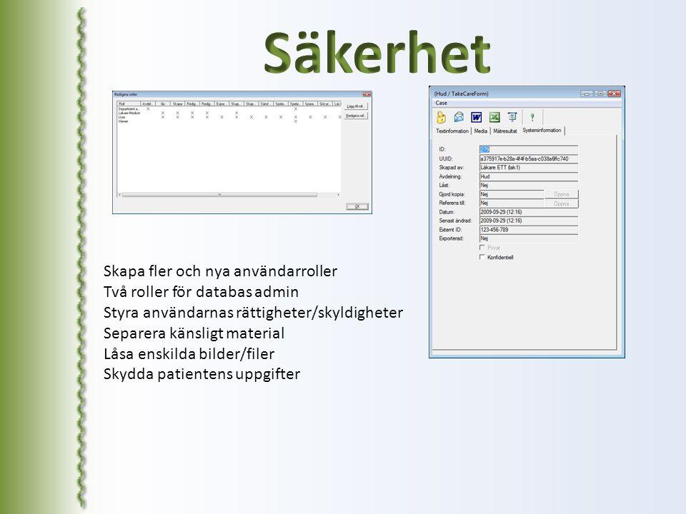Skapa fler och nya användarroller Två roller för databas admin Styra användarnas rättigheter/skyldigheter Separera känsligt material Låsa enskilda bil