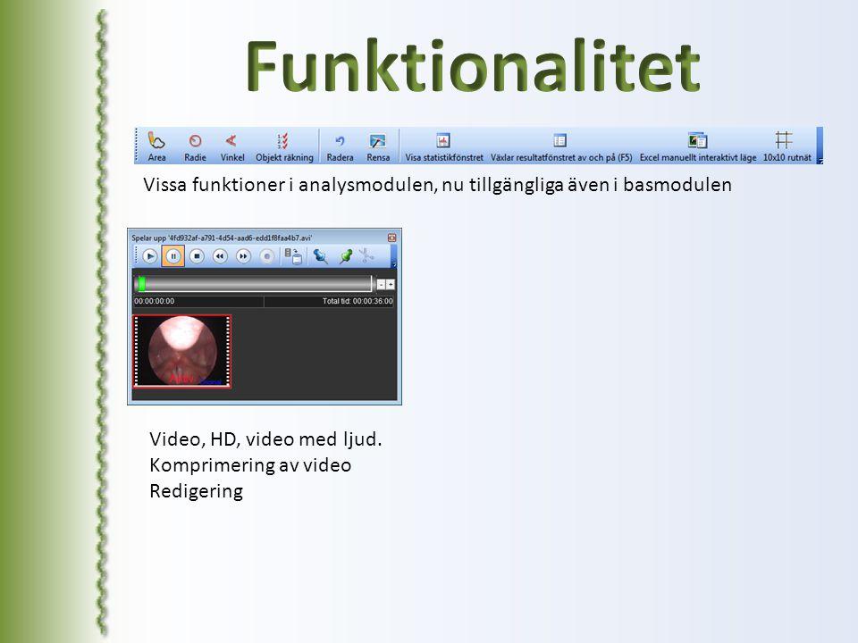 Vissa funktioner i analysmodulen, nu tillgängliga även i basmodulen Video, HD, video med ljud. Komprimering av video Redigering