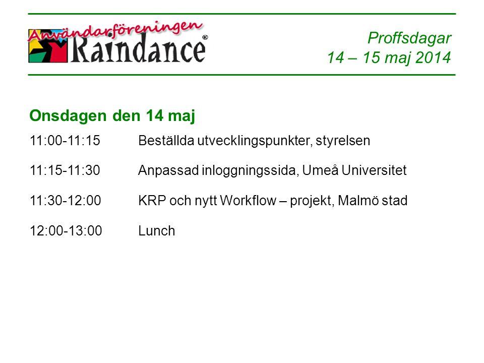 14 – 15 maj 2014 Onsdagen den 14 maj 11:00-11:15Beställda utvecklingspunkter, styrelsen 11:15-11:30Anpassad inloggningssida, Umeå Universitet 11:30-12