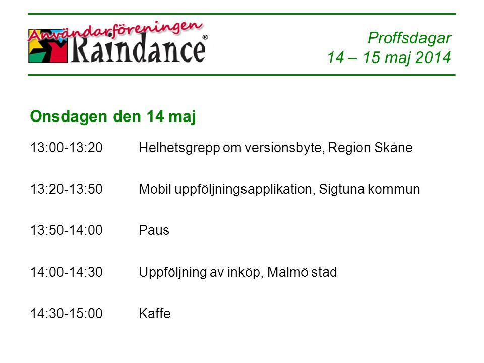 Proffsdagar 14 – 15 maj 2014 Onsdagen den 14 maj 13:00-13:20Helhetsgrepp om versionsbyte, Region Skåne 13:20-13:50Mobil uppföljningsapplikation, Sigtu