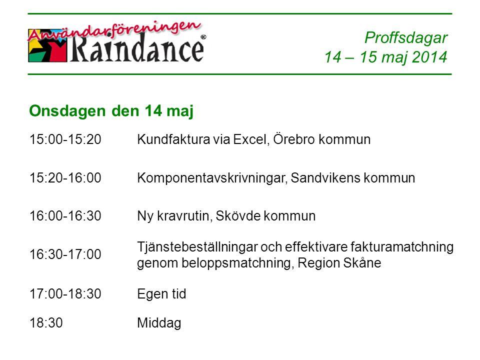Proffsdagar 14 – 15 maj 2014 Onsdagen den 14 maj 15:00-15:20Kundfaktura via Excel, Örebro kommun 15:20-16:00Komponentavskrivningar, Sandvikens kommun