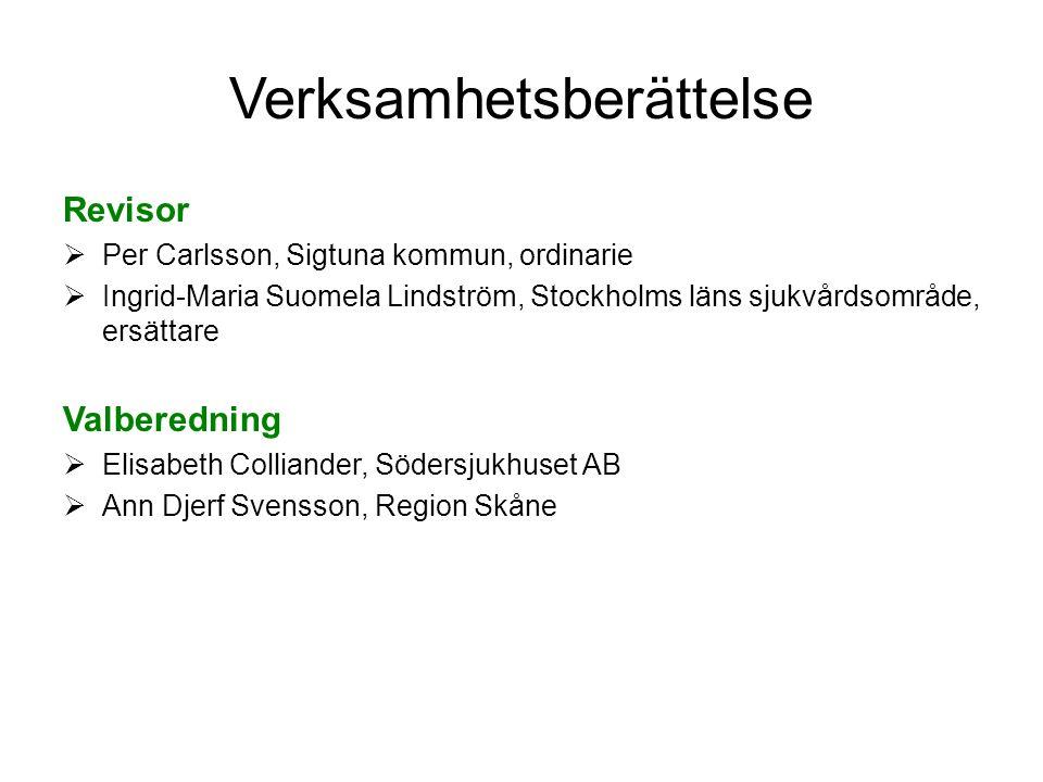 Verksamhetsberättelse Revisor  Per Carlsson, Sigtuna kommun, ordinarie  Ingrid-Maria Suomela Lindström, Stockholms läns sjukvårdsområde, ersättare V