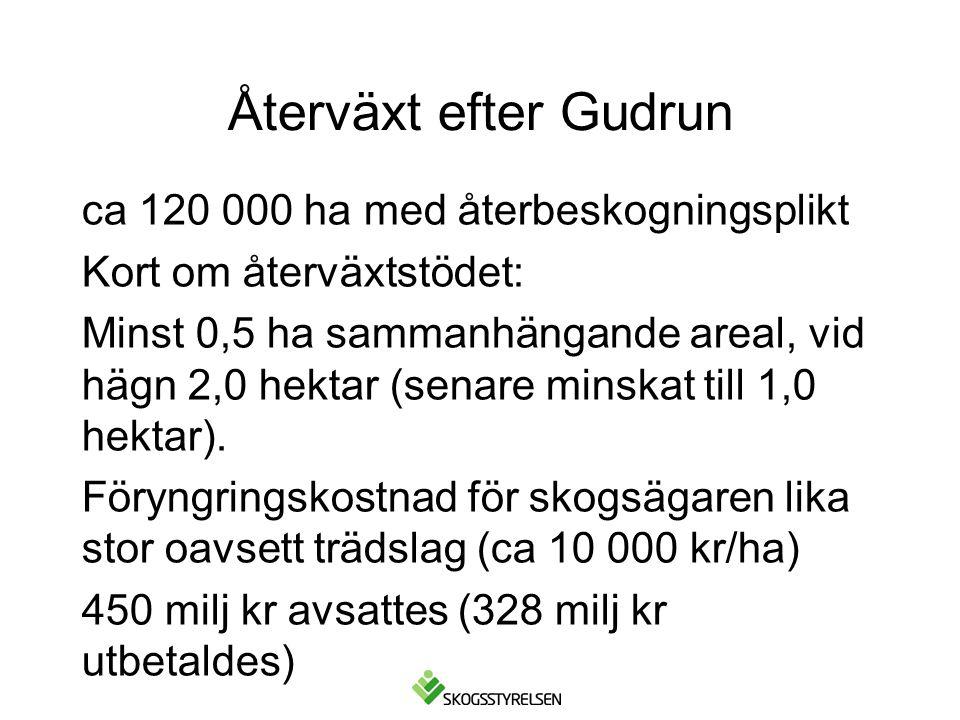 Återväxt efter Gudrun ca 120 000 ha med återbeskogningsplikt Kort om återväxtstödet: Minst 0,5 ha sammanhängande areal, vid hägn 2,0 hektar (senare minskat till 1,0 hektar).