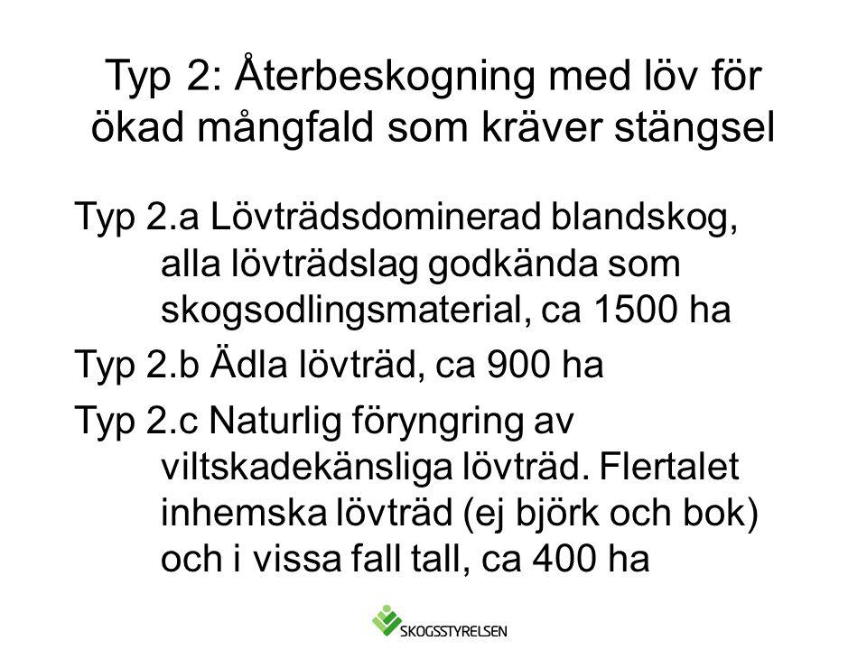 Typ 2: Återbeskogning med löv för ökad mångfald som kräver stängsel Typ 2.a Lövträdsdominerad blandskog, alla lövträdslag godkända som skogsodlingsmaterial, ca 1500 ha Typ 2.b Ädla lövträd, ca 900 ha Typ 2.c Naturlig föryngring av viltskadekänsliga lövträd.