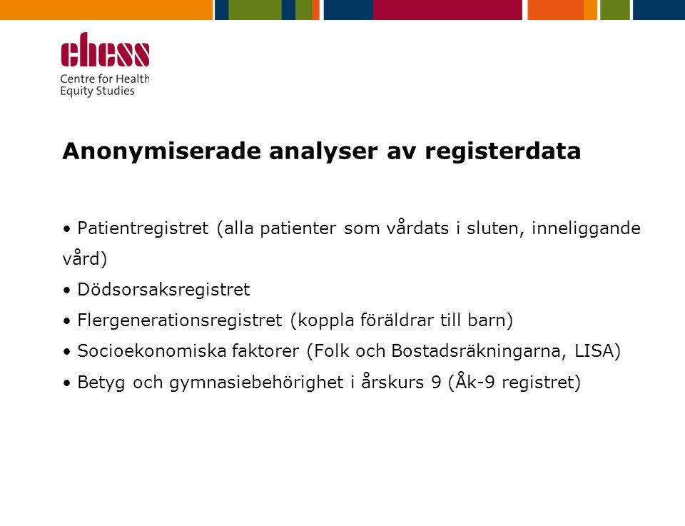 Anonymiserade analyser av registerdata Patientregistret (alla patienter som vårdats i sluten, inneliggande vård) Dödsorsaksregistret Flergenerationsregistret (koppla föräldrar till barn) Socioekonomiska faktorer (Folk och Bostadsräkningarna, LISA) Betyg och gymnasiebehörighet i årskurs 9 (Åk-9 registret)