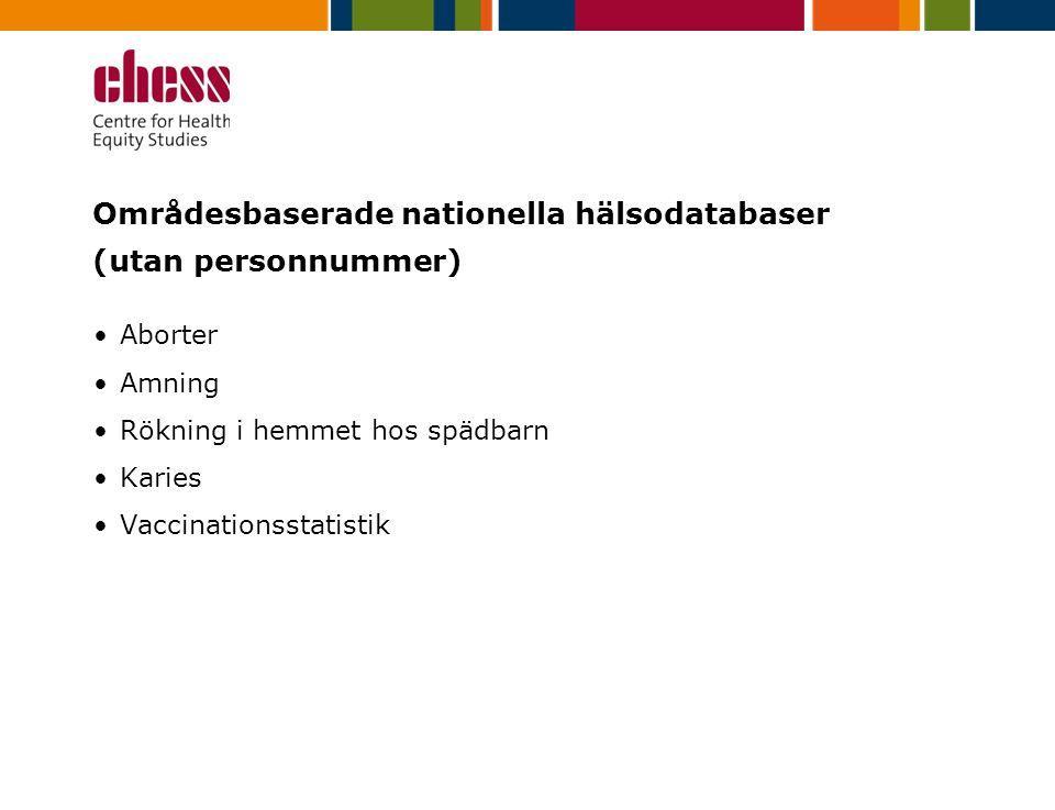 Områdesbaserade nationella hälsodatabaser (utan personnummer) Aborter Amning Rökning i hemmet hos spädbarn Karies Vaccinationsstatistik