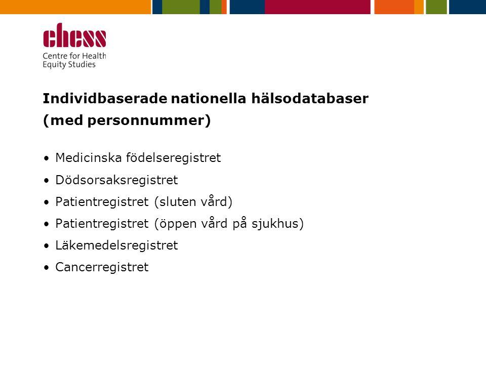 Individbaserade nationella hälsodatabaser (med personnummer) Medicinska födelseregistret Dödsorsaksregistret Patientregistret (sluten vård) Patientregistret (öppen vård på sjukhus) Läkemedelsregistret Cancerregistret