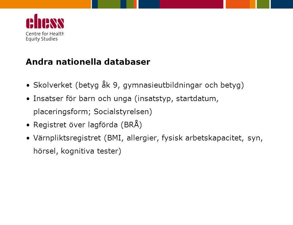 Andra nationella databaser Skolverket (betyg åk 9, gymnasieutbildningar och betyg) Insatser för barn och unga (insatstyp, startdatum, placeringsform; Socialstyrelsen) Registret över lagförda (BRÅ) Värnpliktsregistret (BMI, allergier, fysisk arbetskapacitet, syn, hörsel, kognitiva tester)