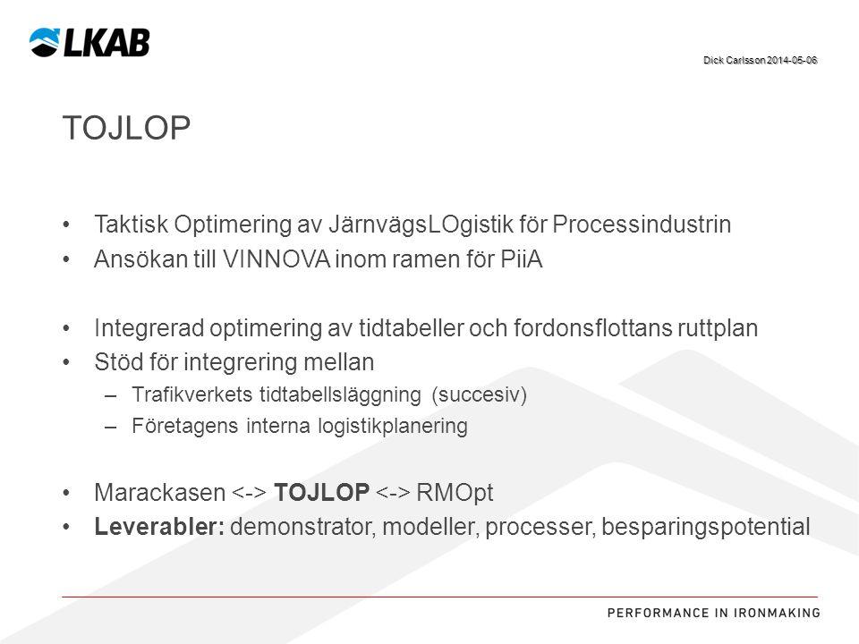 Sv TOJLOP Taktisk Optimering av JärnvägsLOgistik för Processindustrin Ansökan till VINNOVA inom ramen för PiiA Integrerad optimering av tidtabeller oc