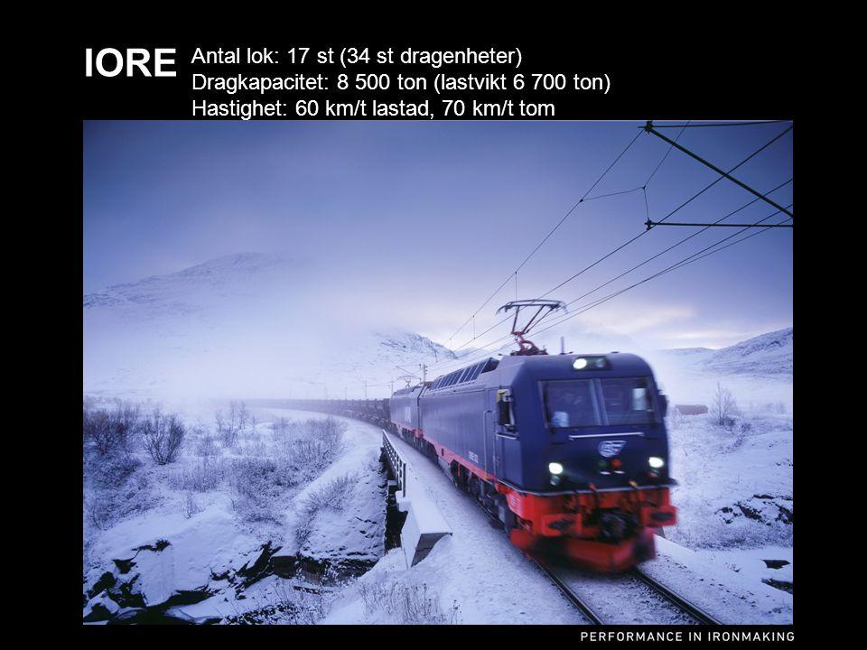 Sv Dick Carlsson 2014-05-06 IORE Antal lok: 17 st (34 st dragenheter) Dragkapacitet: 8 500 ton (lastvikt 6 700 ton) Hastighet: 60 km/t lastad, 70 km/t