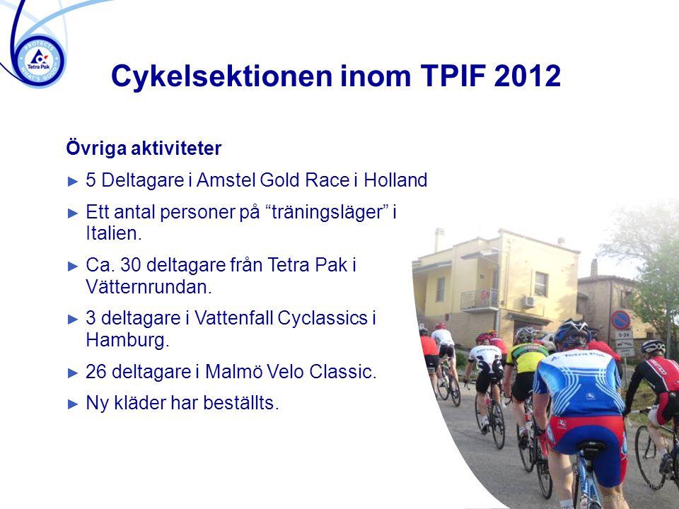 """/ 3 Övriga aktiviteter ► 5 Deltagare i Amstel Gold Race i Holland ► Ett antal personer på """"träningsläger"""" i Italien. ► Ca. 30 deltagare från Tetra Pak"""
