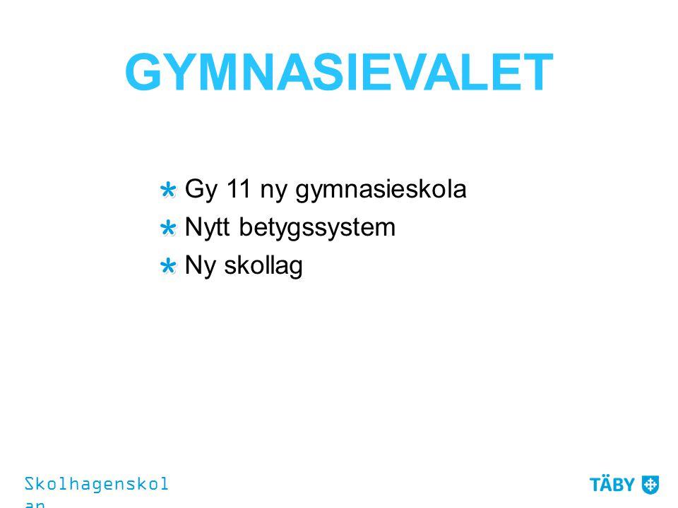 GYMNASIEVALET Gy 11 ny gymnasieskola Nytt betygssystem Ny skollag Skolhagenskol an
