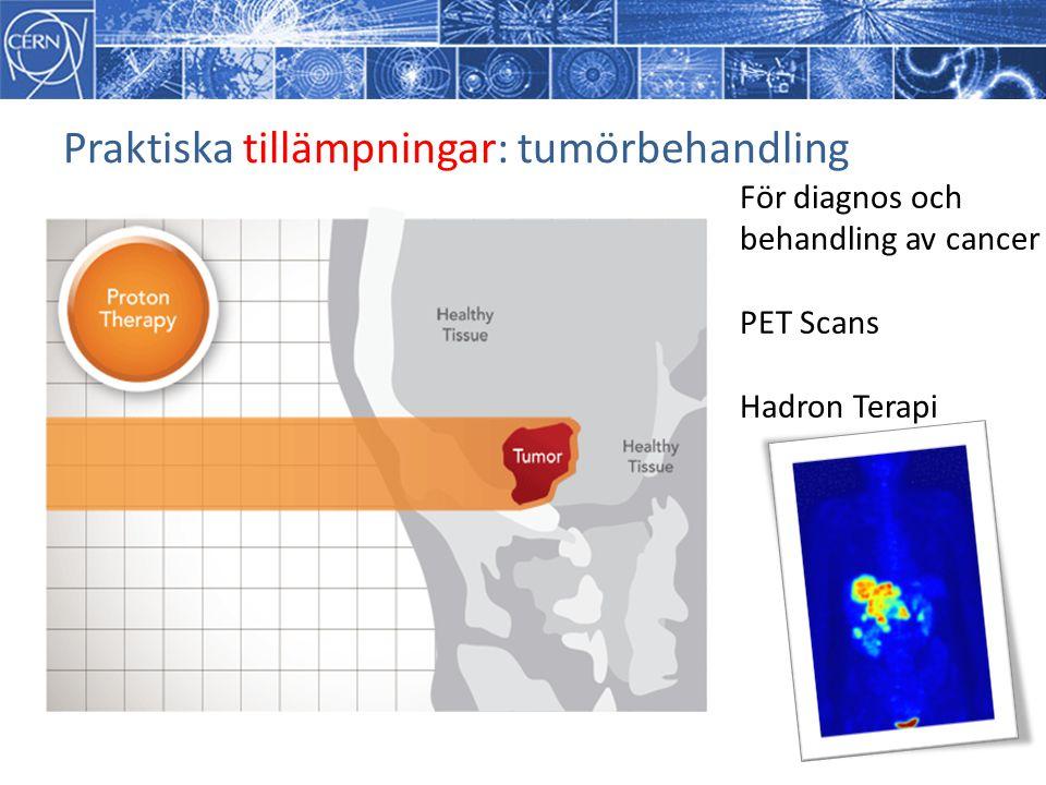 Praktiska tillämpningar: tumörbehandling För diagnos och behandling av cancer PET Scans Hadron Terapi