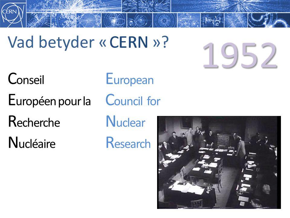 E uropean C ouncil for N uclear R esearch C onseil E uropéen pour la R echerche N ucléaire Vad betyder « »?CERNCERN 1952