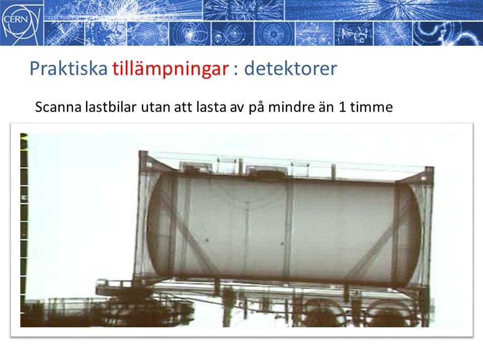 Praktiska tillämpningar : detektorer Scanna lastbilar utan att lasta av på mindre än 1 timme