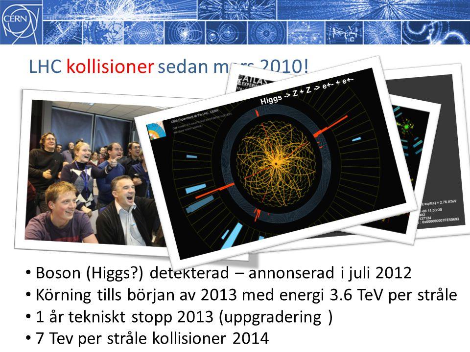 LHC kollisioner sedan mars 2010! Boson (Higgs?) detekterad – annonserad i juli 2012 Körning tills början av 2013 med energi 3.6 TeV per stråle 1 år te