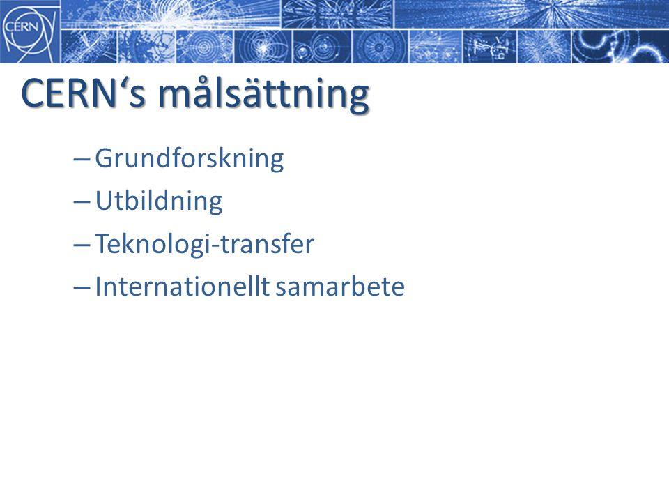 CERN's målsättning – Grundforskning – Utbildning – Teknologi-transfer – Internationellt samarbete