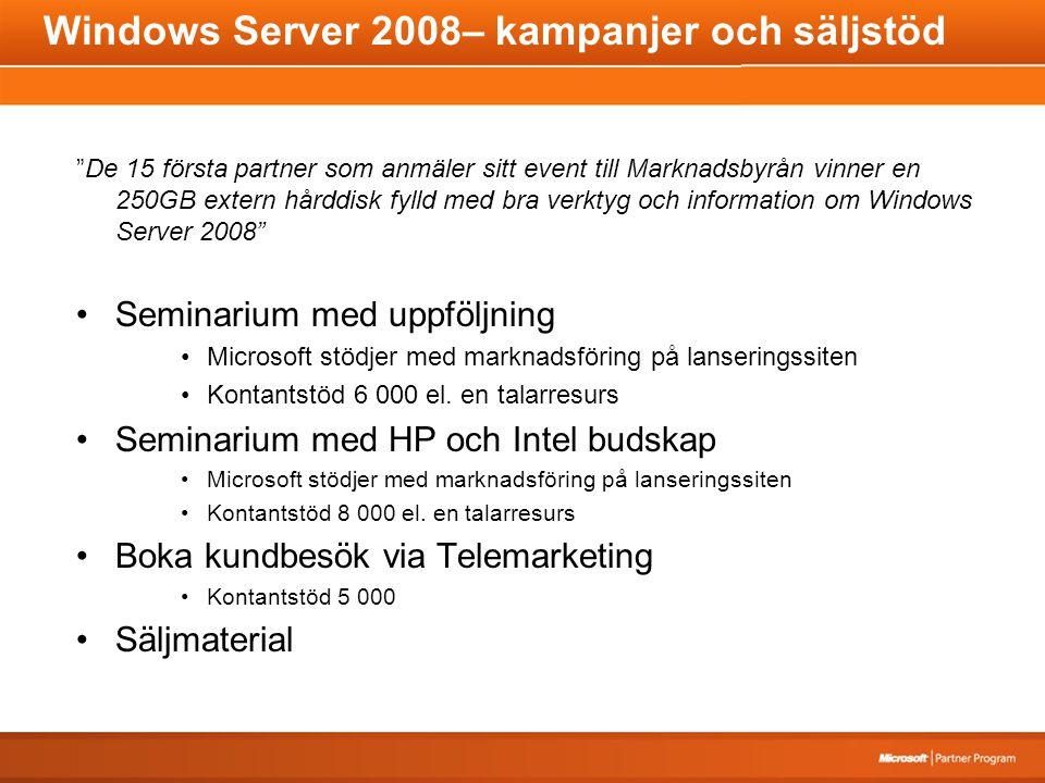 Windows Server 2008– kampanjer och säljstöd De 15 första partner som anmäler sitt event till Marknadsbyrån vinner en 250GB extern hårddisk fylld med bra verktyg och information om Windows Server 2008 Seminarium med uppföljning Microsoft stödjer med marknadsföring på lanseringssiten Kontantstöd 6 000 el.