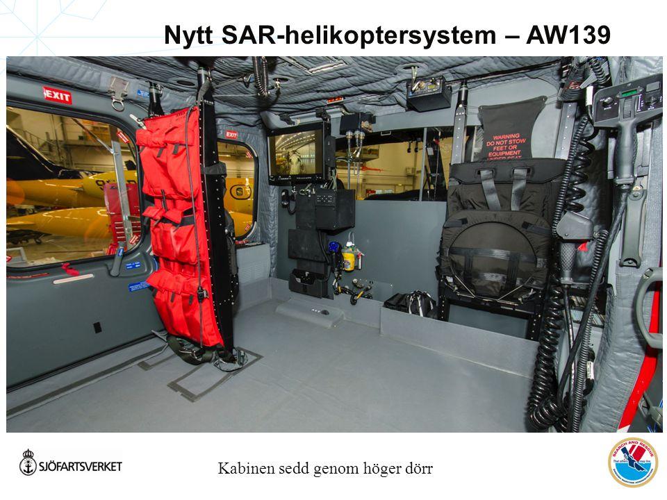 Kabinen sedd genom höger dörr Nytt SAR-helikoptersystem – AW139