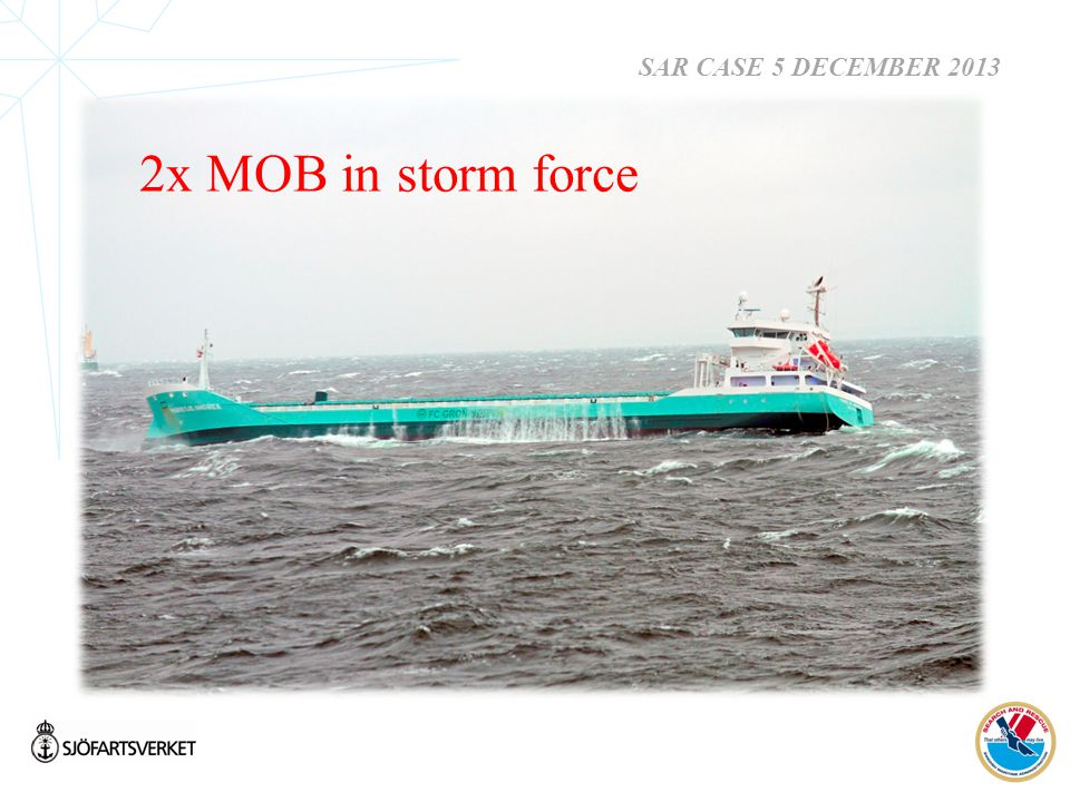 SAR CASE 5 DECEMBER 2013 2x MOB in storm force