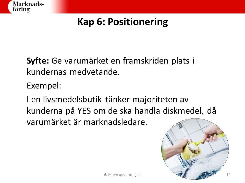 Kap 6: Positionering Syfte: Ge varumärket en framskriden plats i kundernas medvetande. Exempel: I en livsmedelsbutik tänker majoriteten av kunderna på