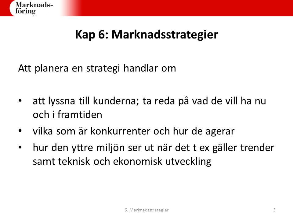 Kap 6: Marknadsstrategier Att planera en strategi handlar om att lyssna till kunderna; ta reda på vad de vill ha nu och i framtiden vilka som är konku