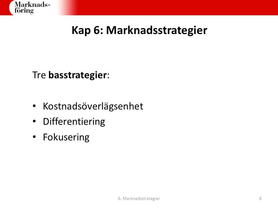 Kap 6: Marknadsstrategier Tre basstrategier: Kostnadsöverlägsenhet Differentiering Fokusering 6. Marknadsstrategier6