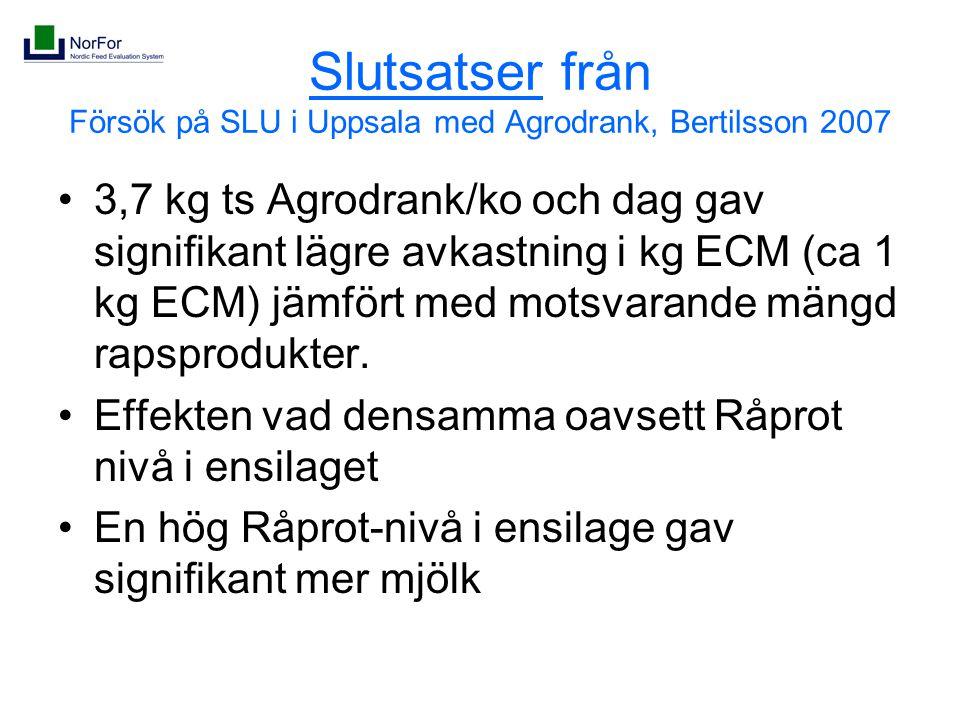 Slutsatser från Försök på SLU i Uppsala med Agrodrank, Bertilsson 2007 3,7 kg ts Agrodrank/ko och dag gav signifikant lägre avkastning i kg ECM (ca 1 kg ECM) jämfört med motsvarande mängd rapsprodukter.