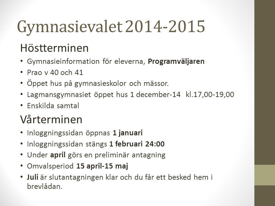 Gymnasievalet 2014-2015 Höstterminen Gymnasieinformation för eleverna, Programväljaren Prao v 40 och 41 Öppet hus på gymnasieskolor och mässor. Lagman