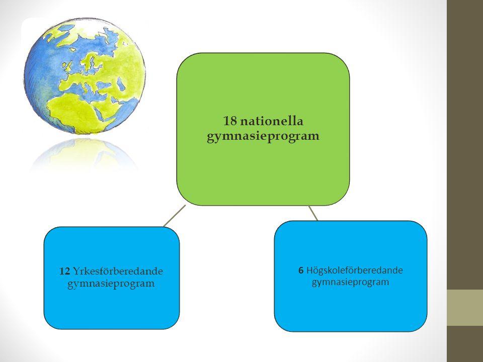 18 nationella gymnasieprogram 6 Högskoleförberedande gymnasieprogram 12 Yrkesförberedande gymnasieprogram